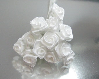 1 dozen White B grade miniature satin roses on wire stems 8-10mm  for crafting and scrapbooking discounted seconds