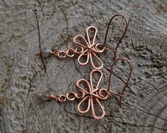 Labradorite//Copper Dragonfly Earrings
