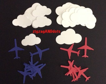 100 Clouds and Airplane Diecuts, Travel Theme Confetti, Confetti Decorations, Embellishments, Scrapbooking, Cardmaking