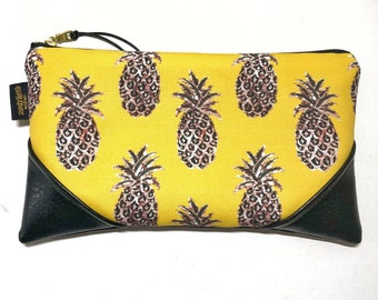 Large Mustard Pineapple Zipper Clutch / Zip Pouch with inside lining and Zipper Pull or Leather Wristlet Strap