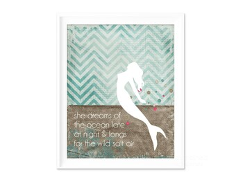 Mermaid Poster Gift for Teen Girl - Ocean Dreams Salt Air - Beach Inspired Digital Art Print Aqua Blue Chevron Inspirational Poster