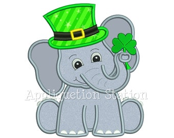 St Patrick Elephant holding Shamrock Applique Machine Embroidery Design saint Patrick's day clover Irish INSTANT DOWNLOAD