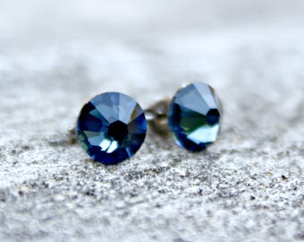 Titanium Earrings, Montana Blue Swarovski Crystal, Hypoallergenic
