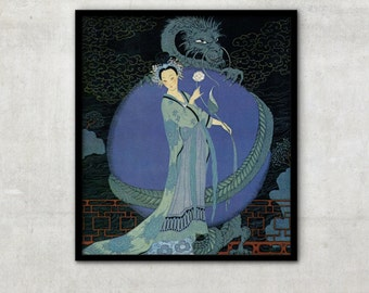 """Vintage Art Deco fashion illustration """"Lady with a Dragon"""" by Georges Barbier, IL045"""