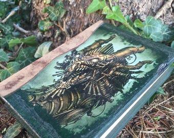 GRIMORIO DRAGO STEAMPUNK,  Notebook, diario, album foto,  quaderno in legno 3 misure disponibili