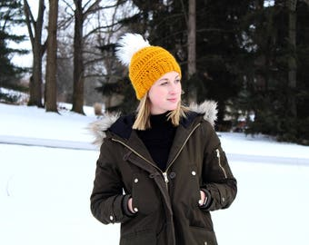 Mustard Yellow Textured Beanie with Faux Fur Pom // Slouchy Pom Beanie // Winter Hat // Gift for Her