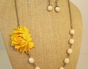 Mustard Yellow Statement Flower Necklace with Ivory Beads and Matching Earrings Yellow Necklace Yellow Jewelry