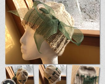 Hand Knit Fashion Accessory Ladies Winter Hat with Side Decorative Bow