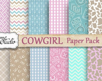 Cowgirl Paper Digital, Scrapbook Paper, Pink Cowgirl bandanna, Western Digital Paper, brown Cowhide Print, digital collage, background paper