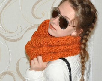 Chunky Cowl Scarf for women Cowl Knit gift mom Gift for her Gift for girlfriend Christmas gift chunky oversized infinity scarf  | Pumpkin