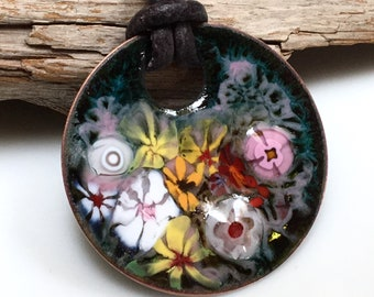 Impressionistic Art Pendant, Joyful Flower Garden in Pinks & Yellow, Kiln Fired Vitreous Enamel on Handmade Copper Pendant, Ready to Mail