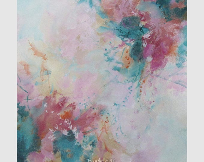 Abstract Modern Expression Art Original Contemporary Painting greenery pink Musing 167
