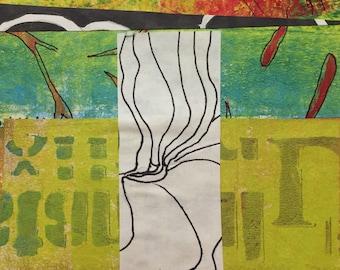 Darunter - Collage mit handgemalten Papiere 5 x 5 auf 8 x 10 Unterstützung