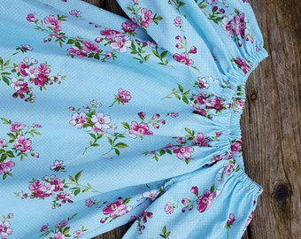 Girl's Infants Toddlers Blue Shabby Chic Floral Peasant Dress