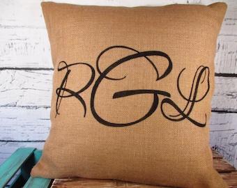 Monogram Burlap Pillow Cover 18X18 - Personalized Initial Pillow in Custom Colors