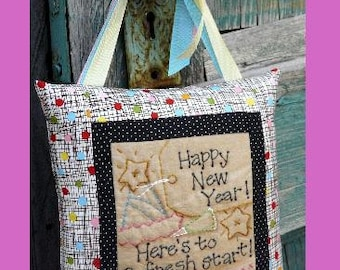 Happy New Years Stitchery embroidery PDF Pattern - eve party door knob decor decorations primitive pillow