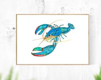 Blue Lobster Watercolour - Printable, Digital Download Art, Wall Art, Home Decor, Modern Art, Contemporary Art, Teal, Turquoise