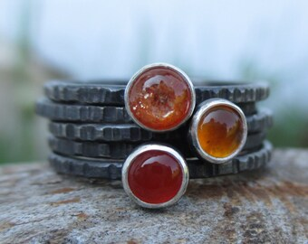 Ready to Ship in Size 6.5 (U.S.) Orange Glow Tiny Stacking Set - 3 Stoned Rings, 2 Stoneless Rings - Sterling and Fine silver