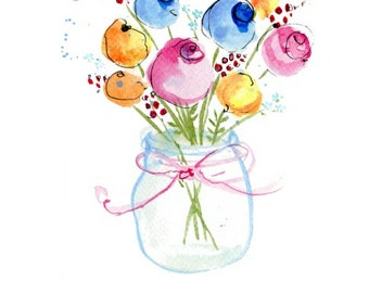 Handmade Thinking Of You Card, Flowers, Vase, Sympathy, Bereavement,