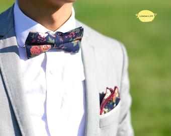 Floral Bow Tie, Blue Floral Bowtie, Wedding Floral Bowtie, Navy Blue Bowties, Pre-Tied Bow Tie