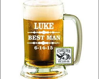Personalized Beer Mug, Custom Beer Mug, Engraved Beer Mug, Groomsmen Beer Mug, Groomsmen Gift, Best Man, Usher, Groomsman Mug,