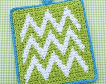 Chevron Potholder Crochet PATTERN - INSTANT DOWNLOAD