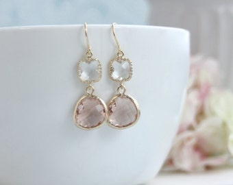 Peach Champagne Earrings, Wedding Earrings, Drop Peach Dangle Earrings Cocktail Earrings, Peach Earrings, Bridal Wedding Bridesmaids Gifts