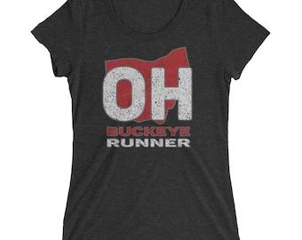 Women's Buckeye Runner TriBlend T-Shirt - Run Ohio - Women's Running T-Shirt