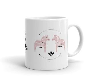 Dala Horse Mug, Dala Horse, Coffee Mug, Watercolor, Pink Dala Horse, Swedish Horse, Scandinavian Design, Horse