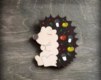 FREE SHIPPING Wooden painted brooch cute and sleepy hedgehog. Brown. Plywood and metall.