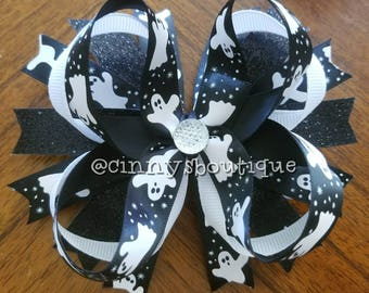"5"" Halloween Ghost Stacked Boutique Bow"
