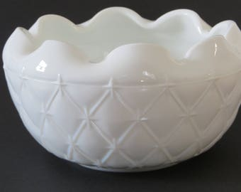 "Indiana Milk Glass Rose Bowl//Quilted Diamond & Star Pattern//5"" Diameter x 2 3/4"" Deep"