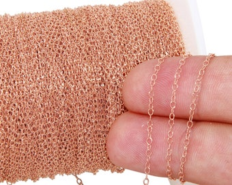 1 FT 1.6x2 mm 14K Rose Gold Filled Chain (RGF1018) Price Per Foot