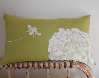 Hydrangea and Bee in Apple Green