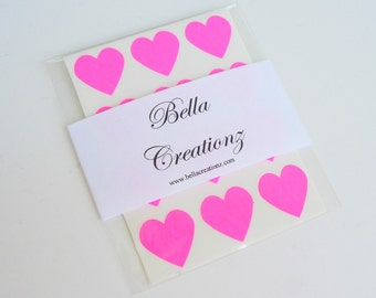 48 Neon Pink Heart Stickers