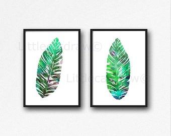 Tropical Banana Leaves Print Set Watercolor Prints Nature Art Illustration Tropical Leaf Minimalist Home Decor 2 Art Prints