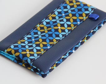 Protects checkbook faux leather Navy Blue and ochre and blue geometric pattern