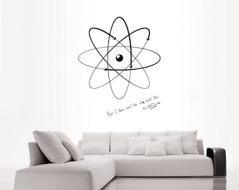 Science art physics Rutherford quote and model of atom vinyl wall decal or poster for your lab university scientific decor (ID: 121006)