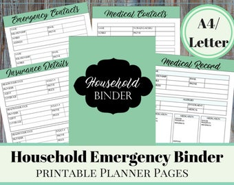 Home Emergency Information Binder,  Insurance Information, Medical Contacts, Emergency Contacts, Family Medical Records