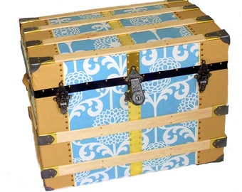 Large Antique Trunk in Print Canvas