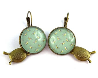 Earrings green and yellow birds, vintage and romantic
