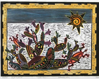 """Woodblock print """" Cactus """". Printmaking. Handpulled print. Hand colored print."""