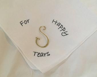 For Happy Tears Handkerchief with monogram initial/bridesmaid gift Handkerchief/Glitter Vinyl/monograms