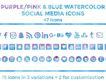 Blue Purple Watercolor Social Media Icons Buttons Website Icons Blog Icons Social Media Icons Graphics Twitter