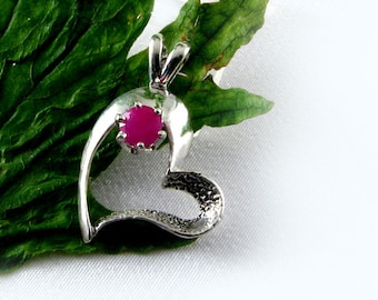 Sterling Silver Heart with Genuine Ruby Stone Pendant Slide July Birthstone