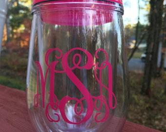 Monogrammed Bev2Go Stemless Wine Glasses