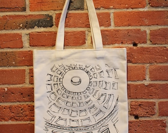 Rome Art Canvas Tote Bag with Pocket, Pantheon, Architecture, Italy Tote, Black and White Sketch Art Tote