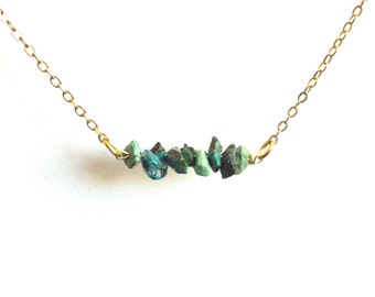 Turquoise Bar Necklace, Delicate Turquoise Necklace, Raw Tiny Turquoise Necklace, Thin Chain Necklace,