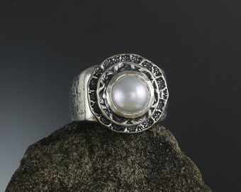 Sterling Silver Pearl Ring - Natural White Pearl - Silver Band Ring - Natural Pearl - Statement Ring - June Birthstone Ring - Sherry Tinsman