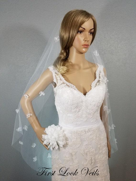 White and Pink Wedding Veil, Bridal Waltz Veil, Pink Wedding Veil, Floral Veil, White Bridal Veil, Bridal Accessory, Bridal Hair Combs
